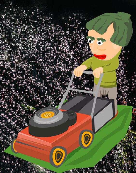 Mowing in the rain