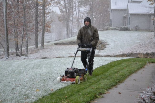 Mowing during winter