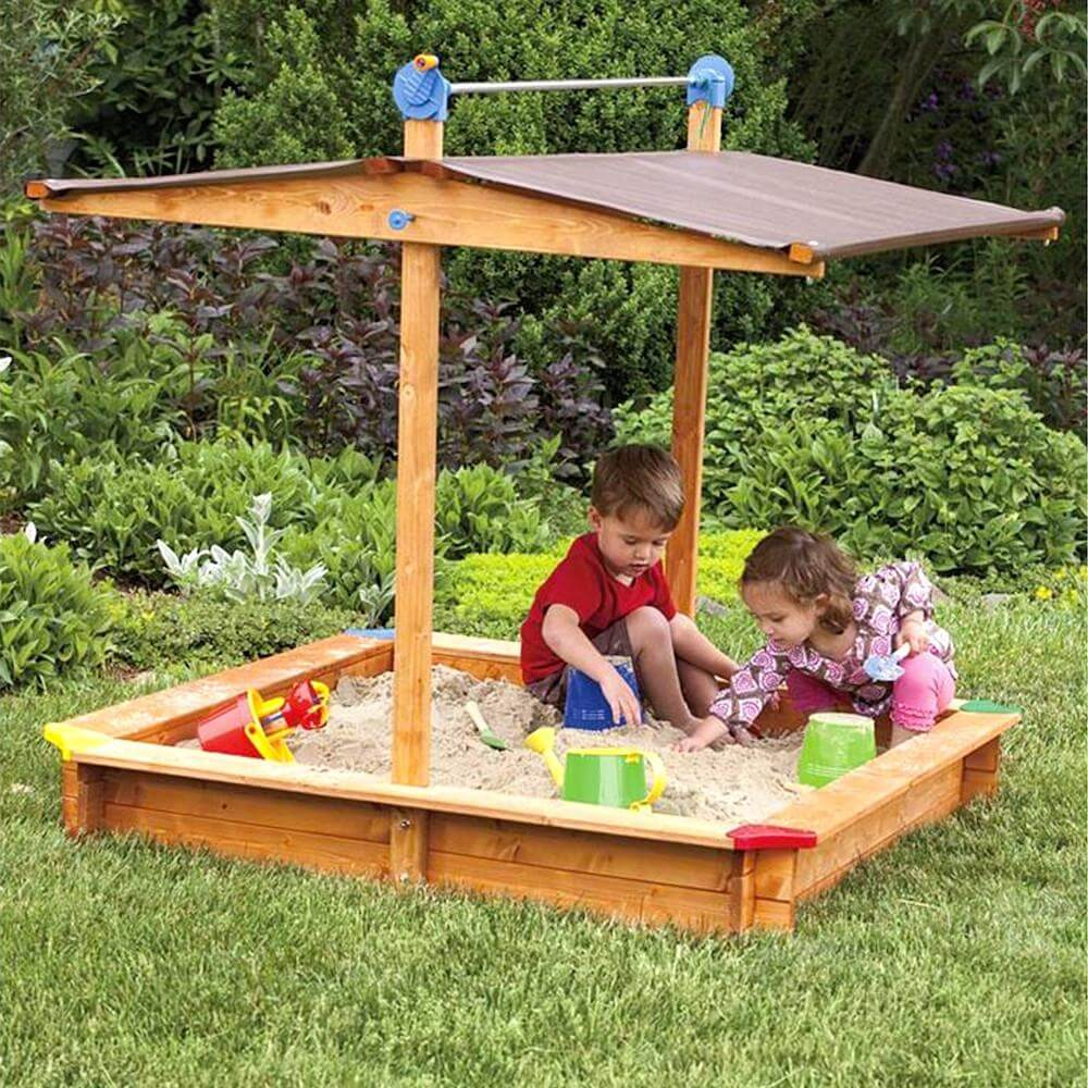 Kids covered wooden sandbox