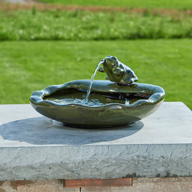 Water fountain styles and sizes are available when choosing a water feature