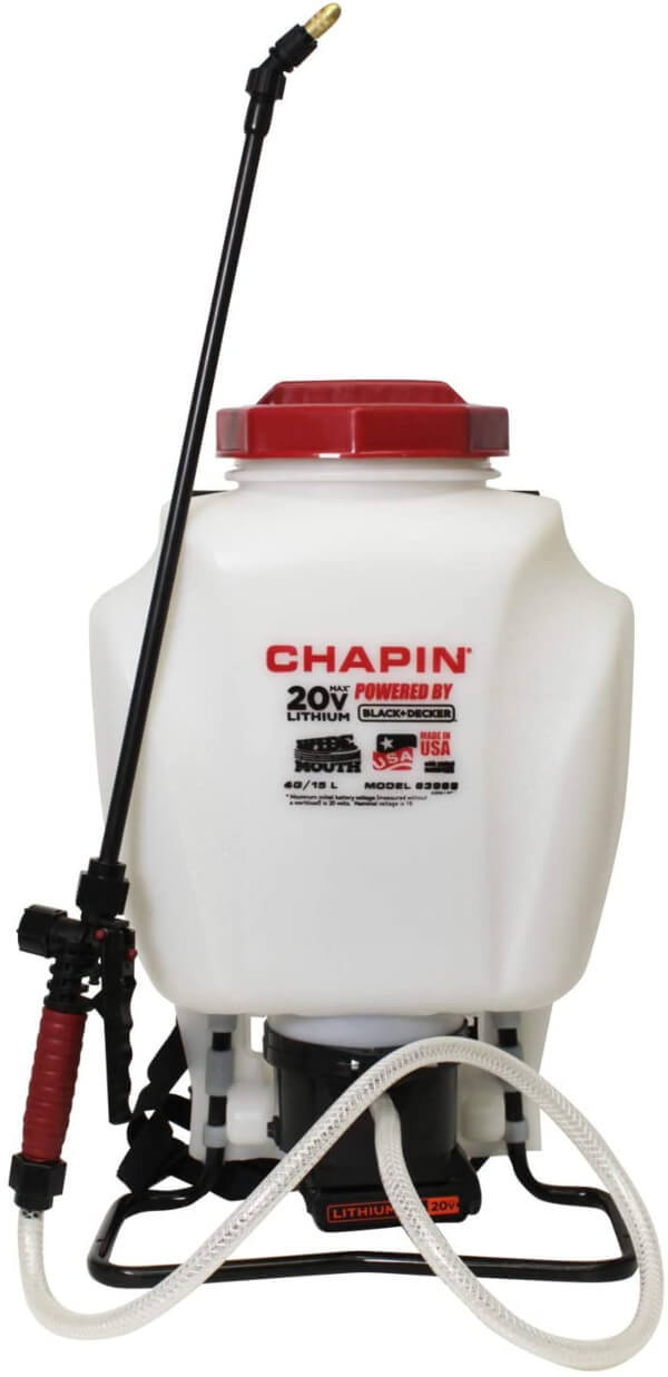 Chapin 63985 Backpack Sprayer features a 20 volt Black & Decker lithium battery, which can last for up to 1.75 hours