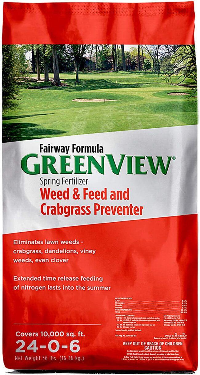 GreenView Fairway 2129268 Formula Spring Fertilizer Weed & Feed + Crabgrass Preventer spring lawn fertilizer
