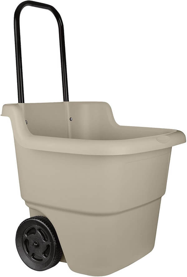 Suncast LC1250D 15.5 Gallon Capacity Poly Rolling Lawn Cart has a capacity of 15 and a half gallon