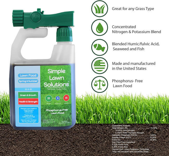 Superior Nitrogen & Potash 15-0-15 NPK- Lawn Food Natural Liquid Fertilizer - Concentrated Spray