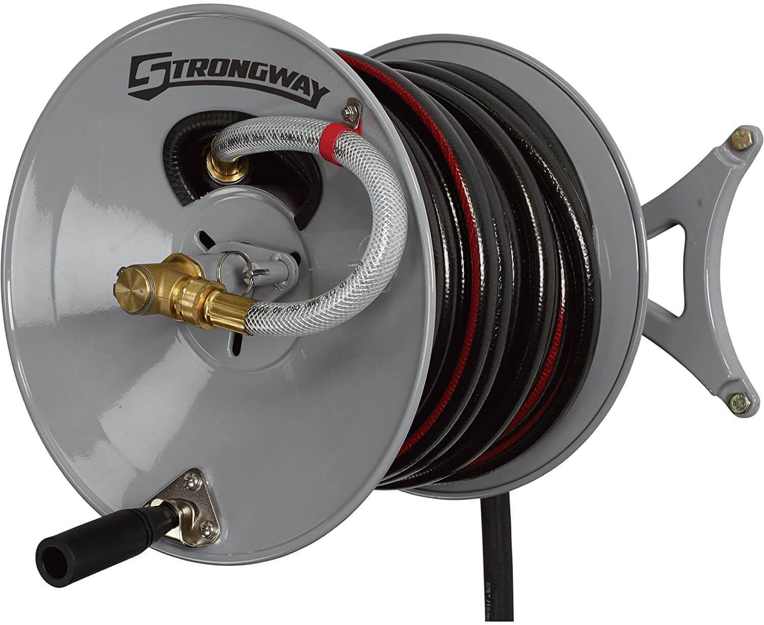 Strongway Parallel or Perpendicular Wall-Mount Garden Hose Reel - 150ft. Hose