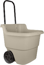 Suncast 2-Wheel Resin Multi-Purpose Cart with Handle - 15.5 Gallon Cart for Garden, Grocery Store and Home