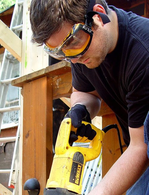 safety goggles protect you against the dust or the splinters that might fly off the blade